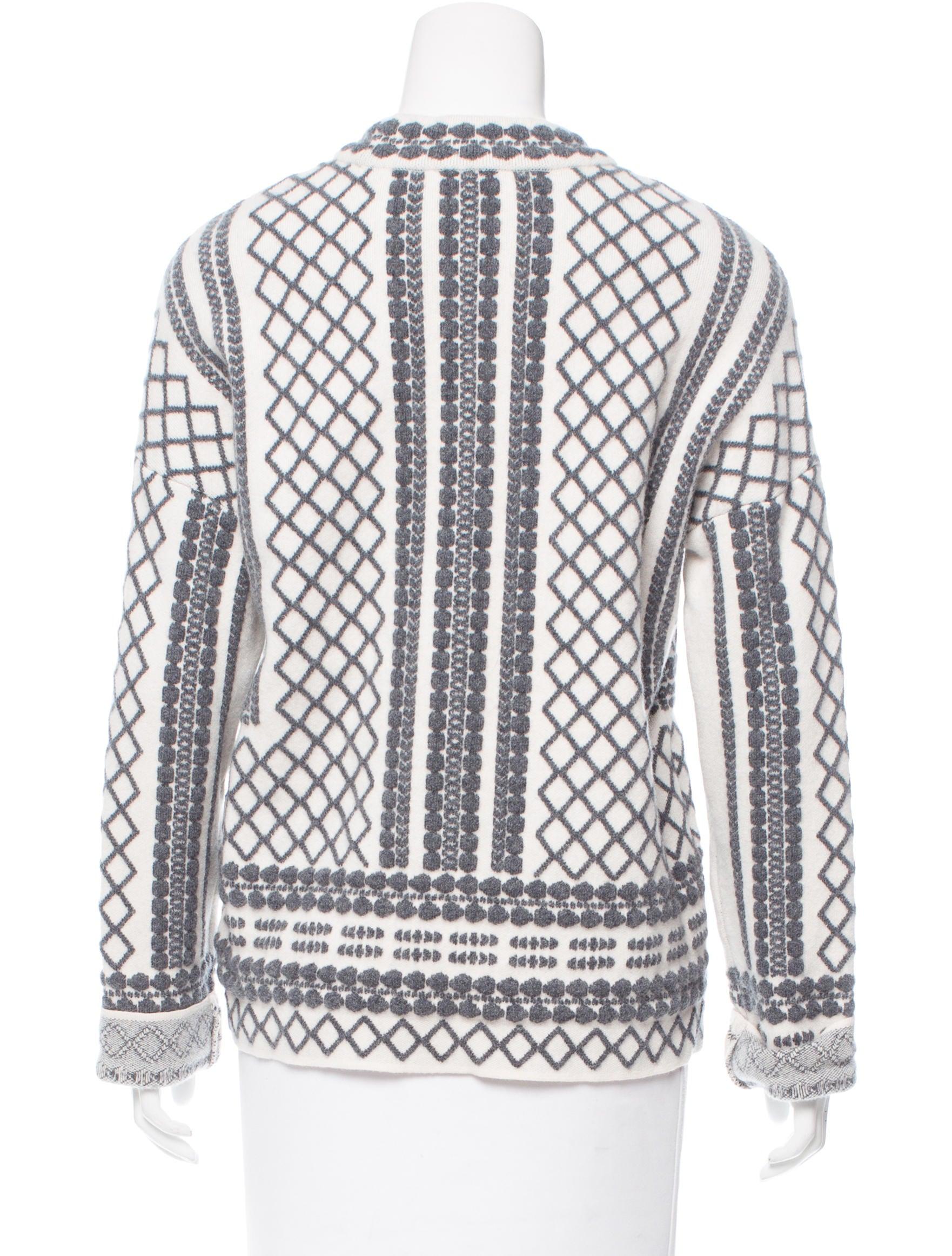 Tory Burch Jacquard Wool Sweater - Clothing