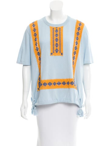 Tory Burch Crochet-Trimmed Short Sleeve Top None