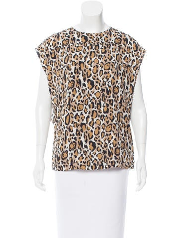 Tory Burch Silk Leopard Print Top None
