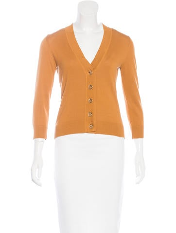 Tory Burch Three-Quarter Sleeve V-Neck Cardigan None