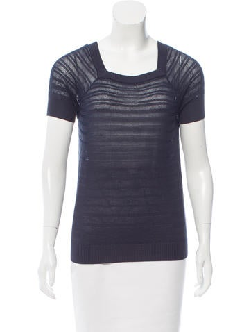 Tory Burch Open-Knit Short Sleeve Top None