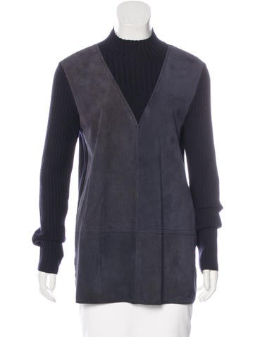 Tory Burch Suede-Paneled Sweater None