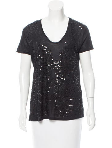 Tory Burch Sequin Short Sleeve Top None