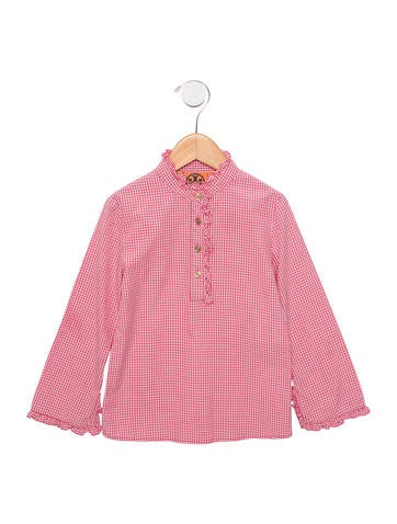 Tory Burch Girls' Ruffle-Trimmed Gingham Top None