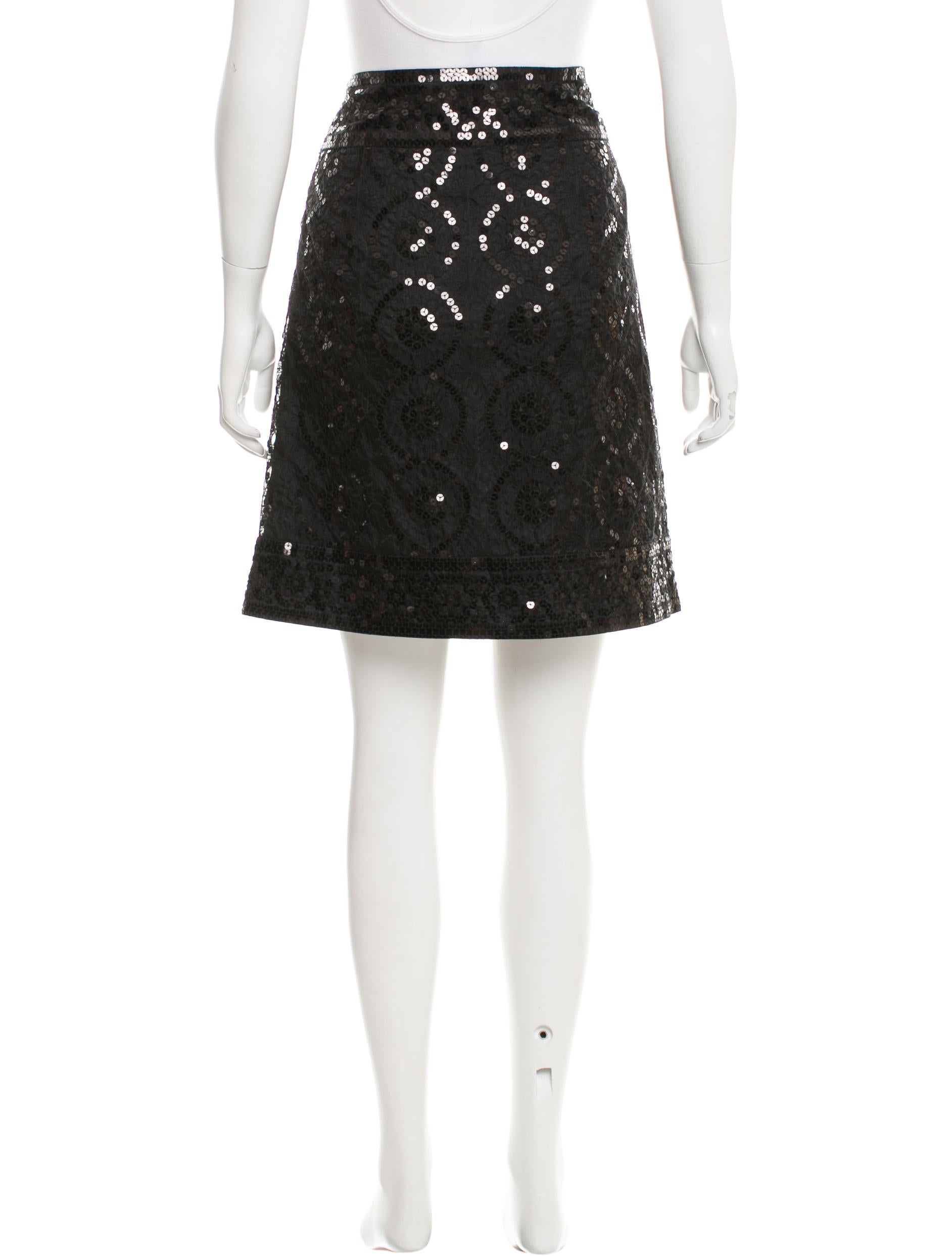 burch sequin embellished knee length skirt clothing
