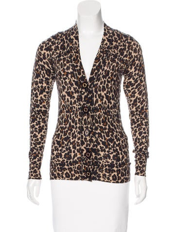 Tory Burch Leopard Print Wool Cardigan None