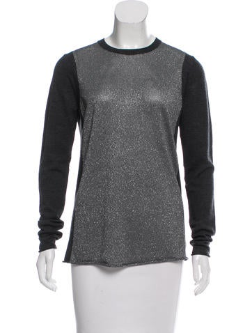 Tory Burch Metallic-Accented Wool Sweater None