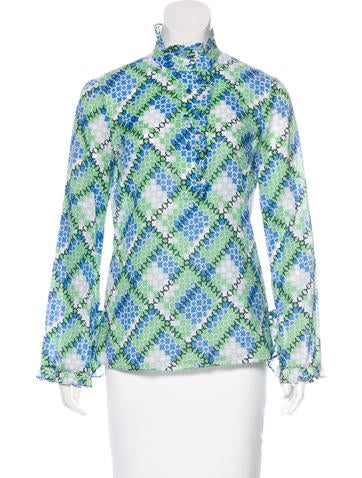 Tory Burch Printed Ruffle-Trimmed Top None