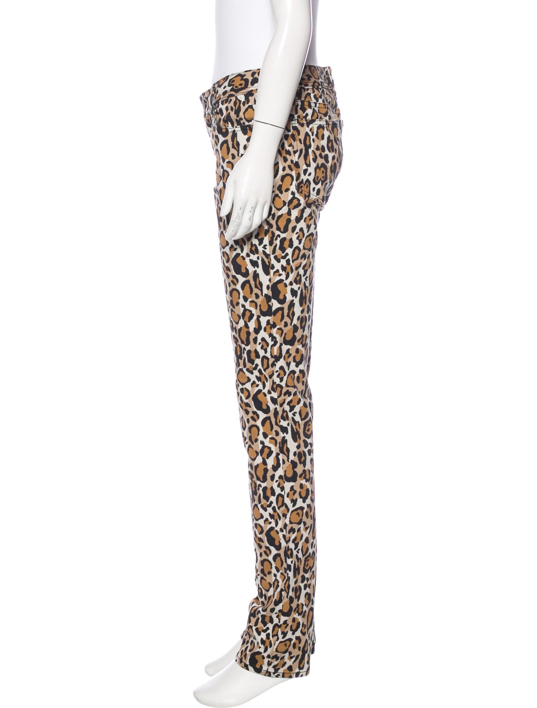 Tory Burch Leopard Print Straight-Jeg Jeans