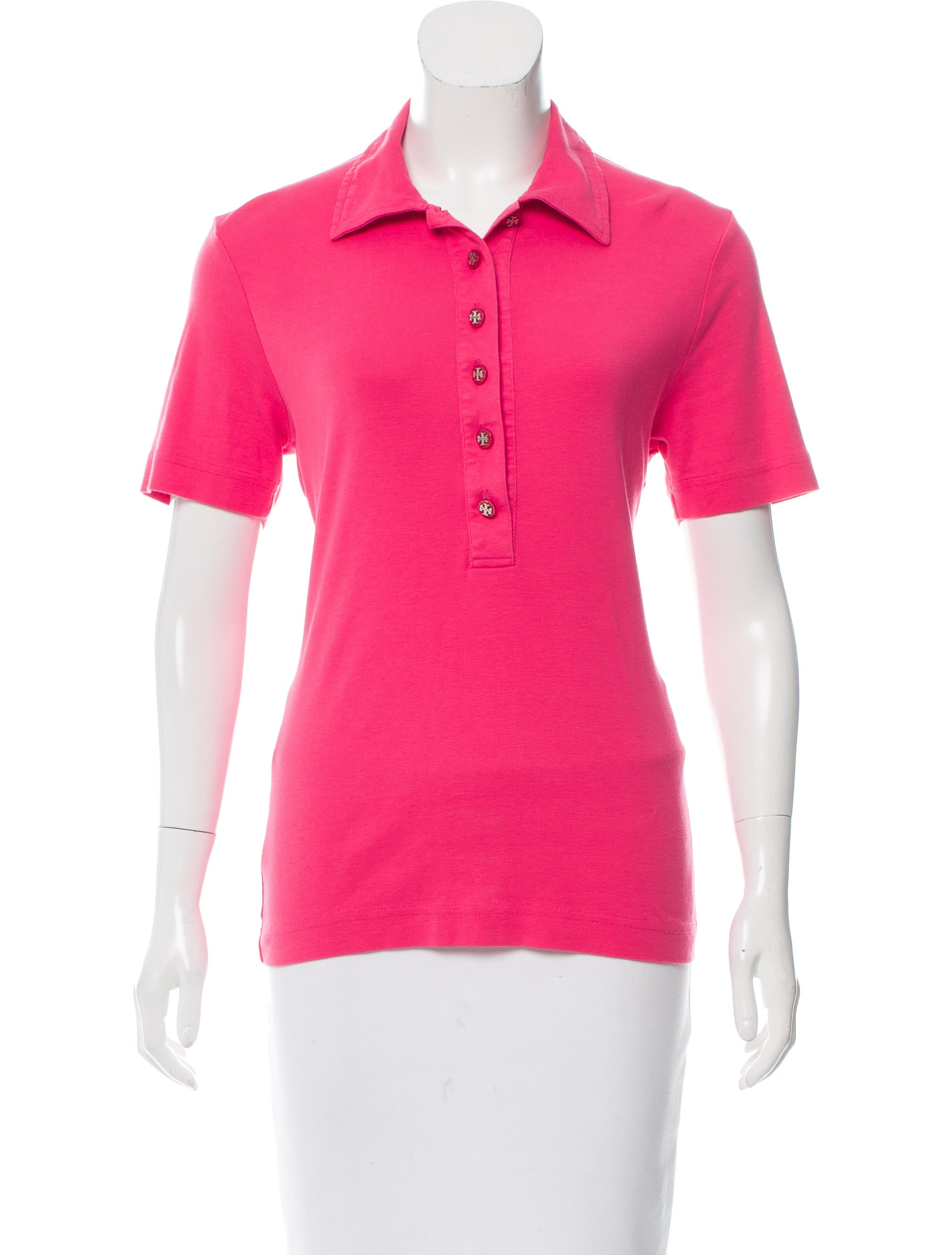 Tory burch button up polo shirt clothing wto95848 for No button polo shirts