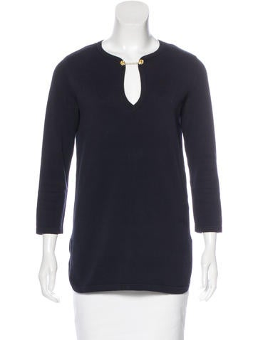 Tory Burch Long Sleeve Knit Sweater None