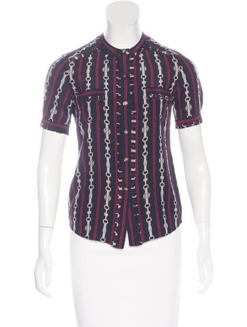 Tory Burch Silk Printed Button-Up None