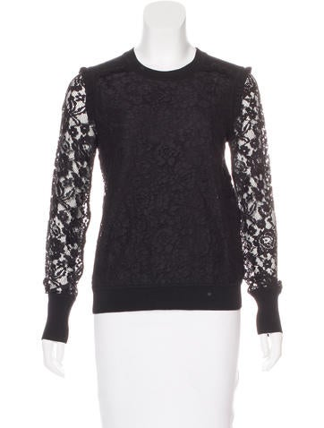 Tory Burch Lace-Paneled Ruffle-Trimmed Top None