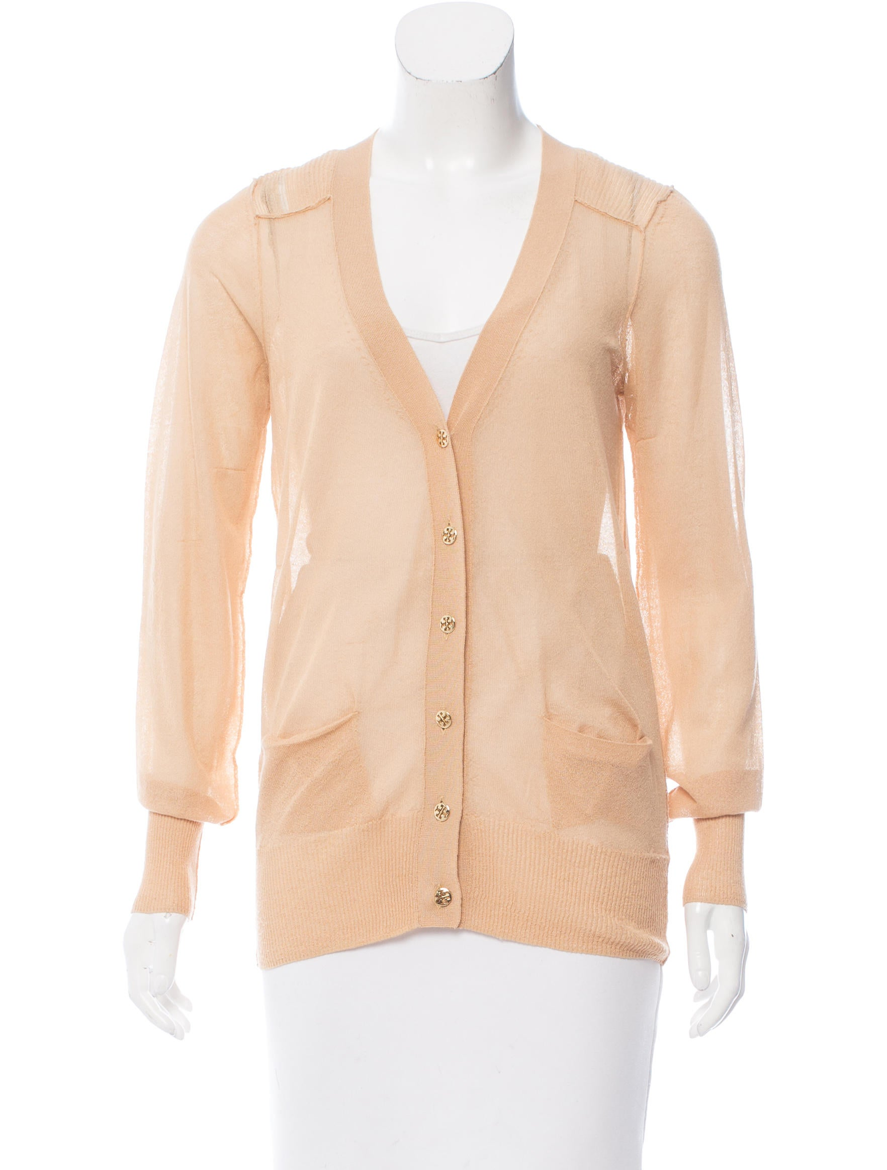 Tory Burch Sheer Long Sleeve Cardigan - Clothing - WTO96950 | The ...