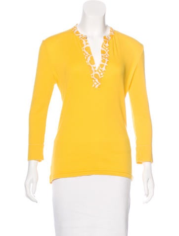 Tory Burch Contrast-Trimmed Henley Top None