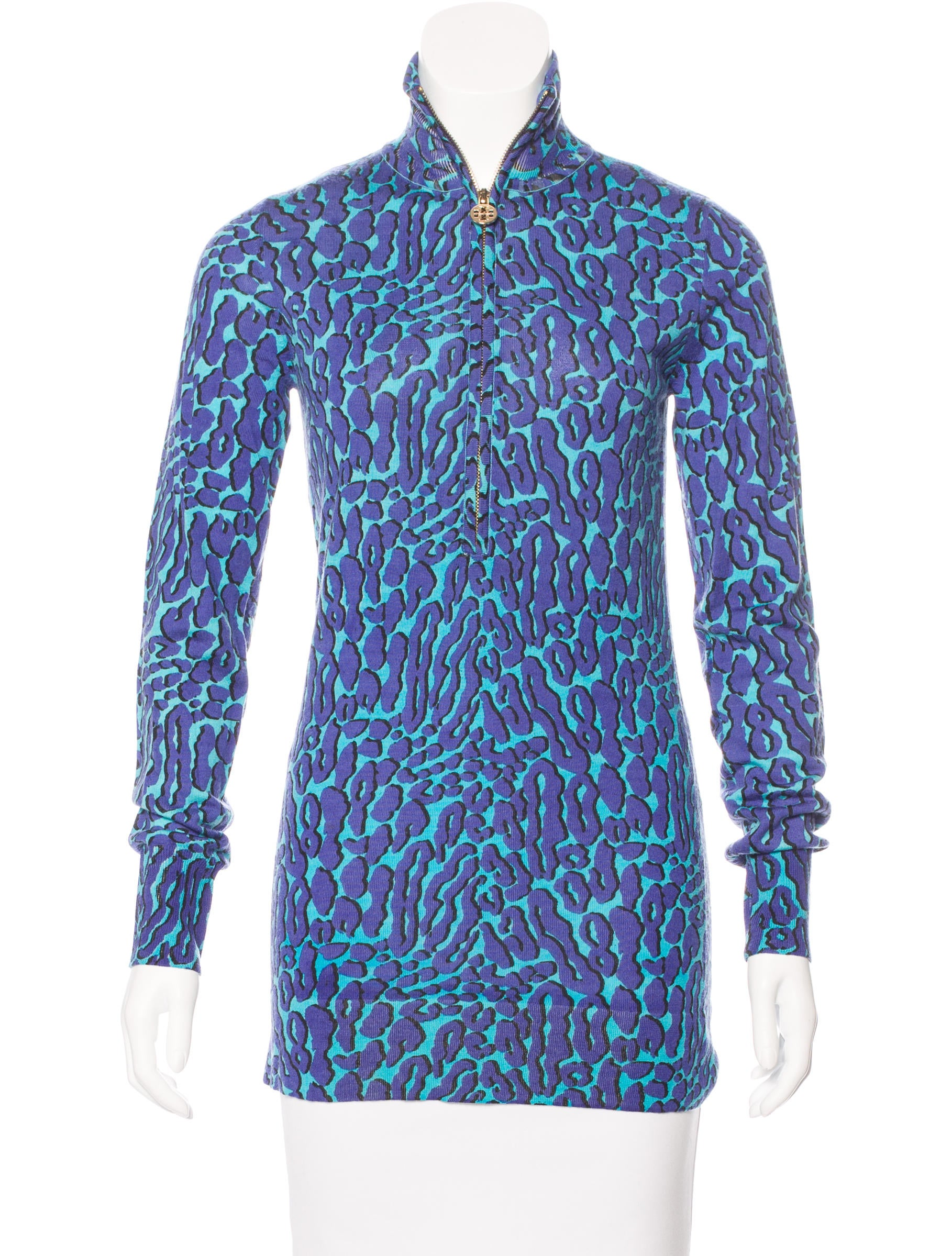 30a3cffdf8824d Tory Burch Leopard Print Turtleneck Sweater - Clothing - WTO97217 ...