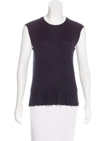 Tory Burch Silk-Blend Rib Knit Top None