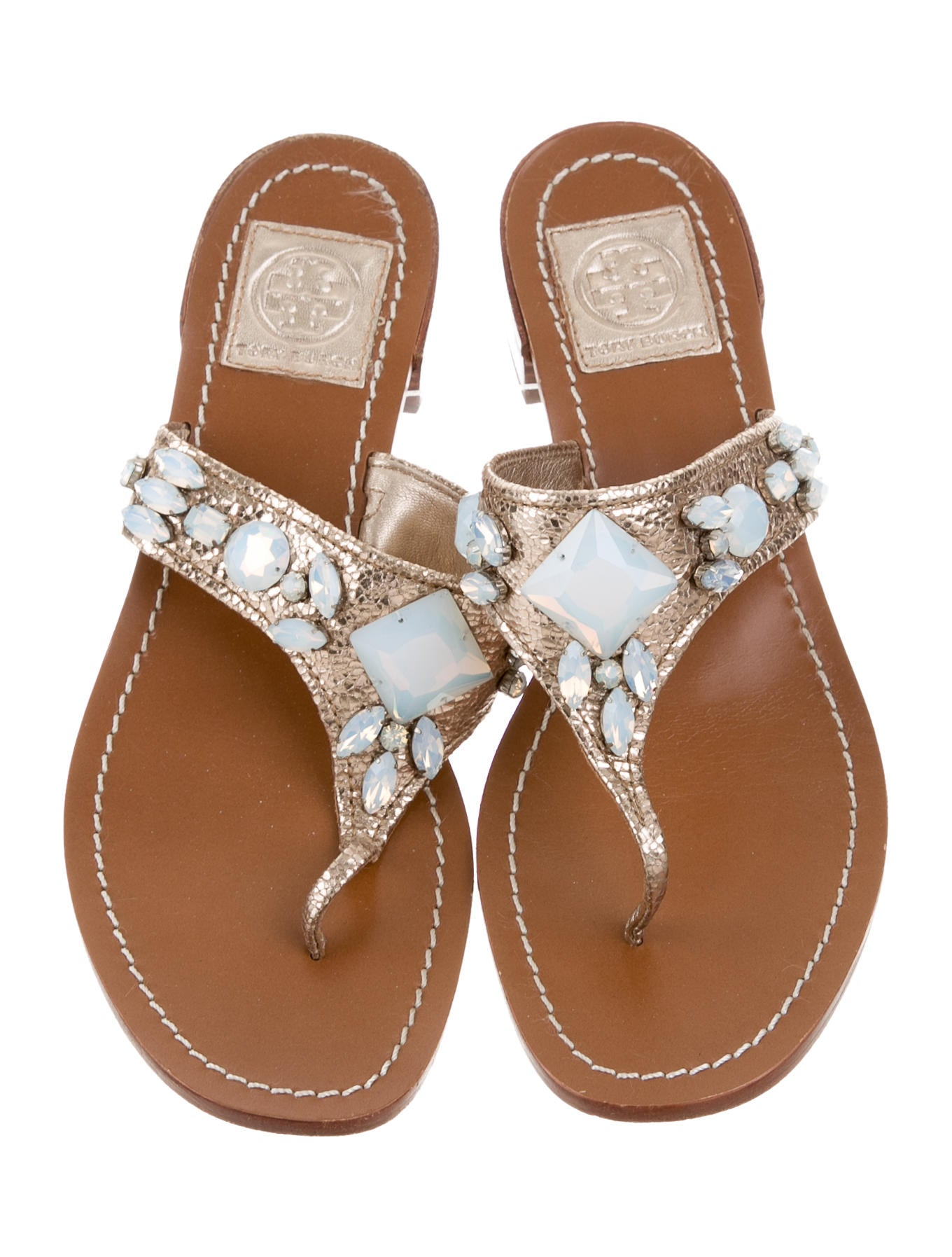 tory burch embellished thong sandals shoes wto97519. Black Bedroom Furniture Sets. Home Design Ideas