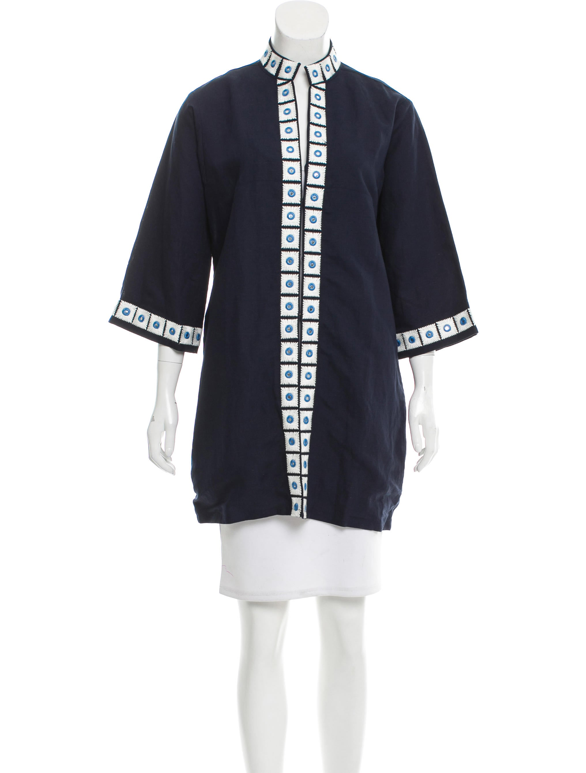 Tory Burch Embroidered Long Jacket - Clothing - WTO97730 | The RealReal