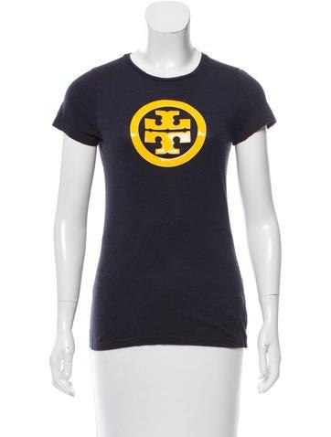 Tory burch short sleeve logo t shirt clothing wto97896 for Tory burch t shirt