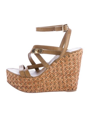 Tory Burch Leather Platform Wedges None