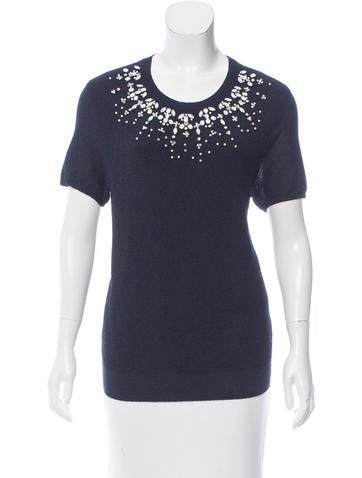Tory Burch Embellished Knit Top None
