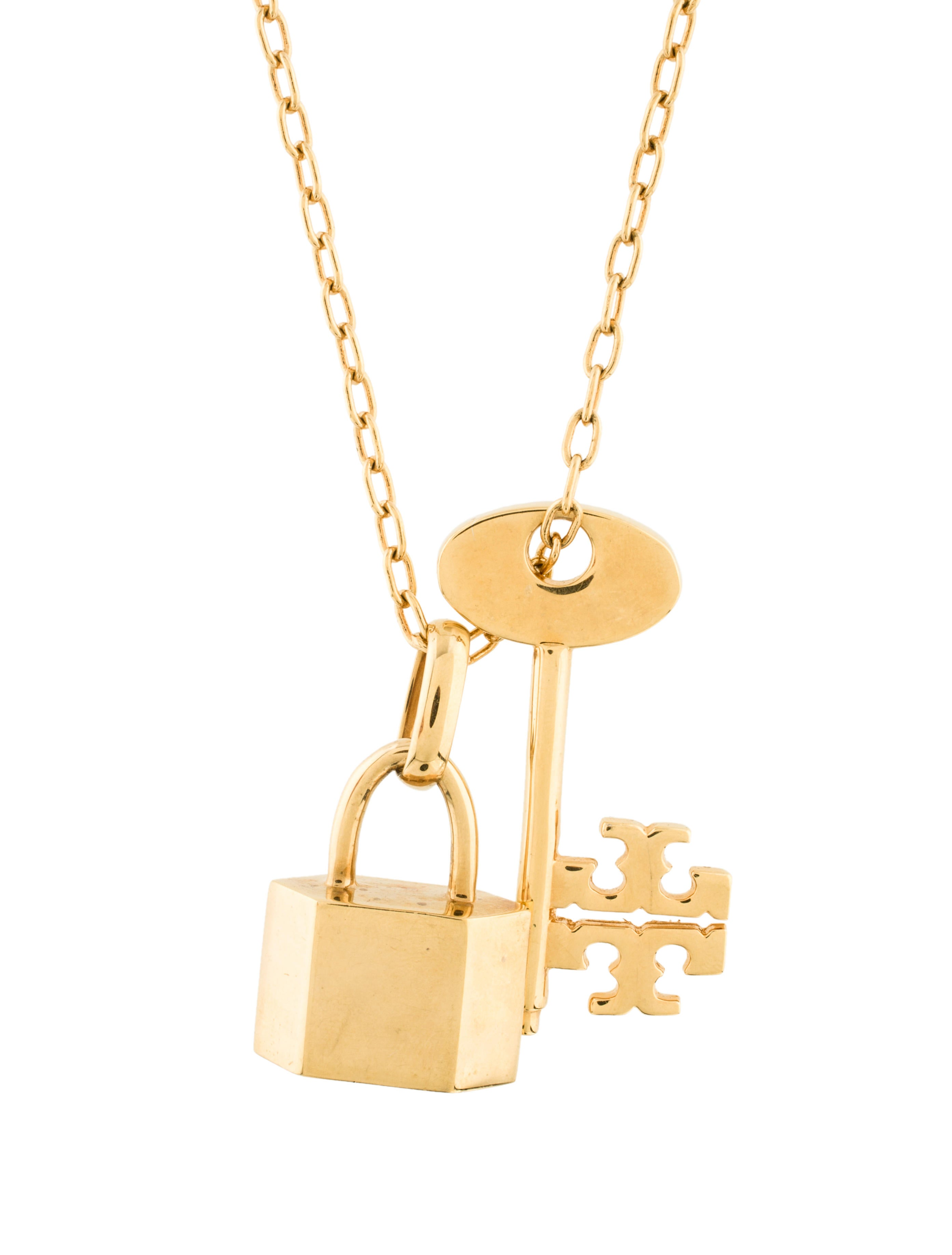 Tory Burch Lock Amp Key Chain Link Necklace Necklaces