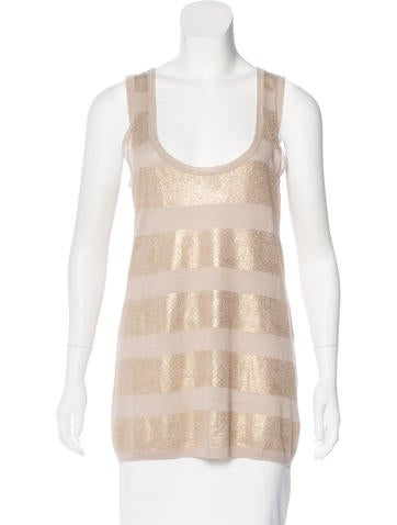 Tory Burch Sleeveless Linen-Blend Top None