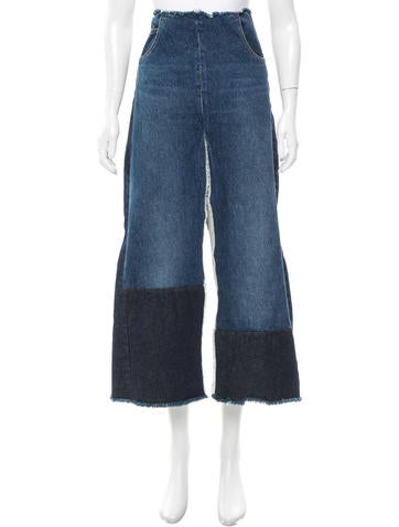 Tome Raw-Edge Denim Skirt w/ Tags