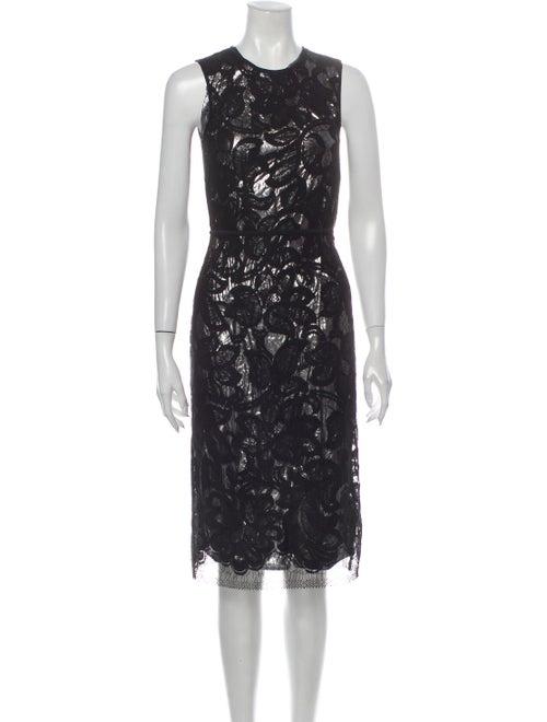Tome Lace Pattern Midi Length Dress Black