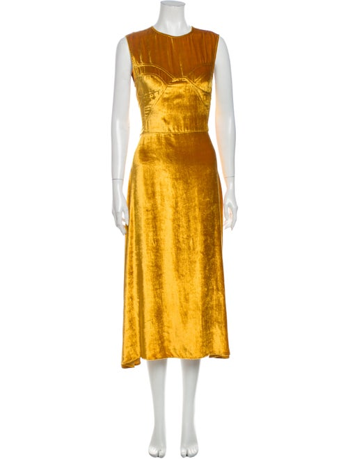 Tome Crew Neck Long Dress Gold