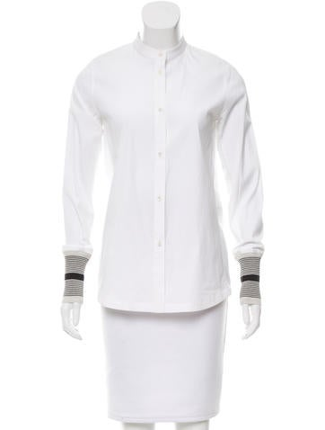 Tory Sport Contrast Button-Up Top None