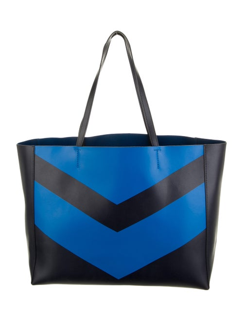 Tory Sport Striped Leather Tote Blue
