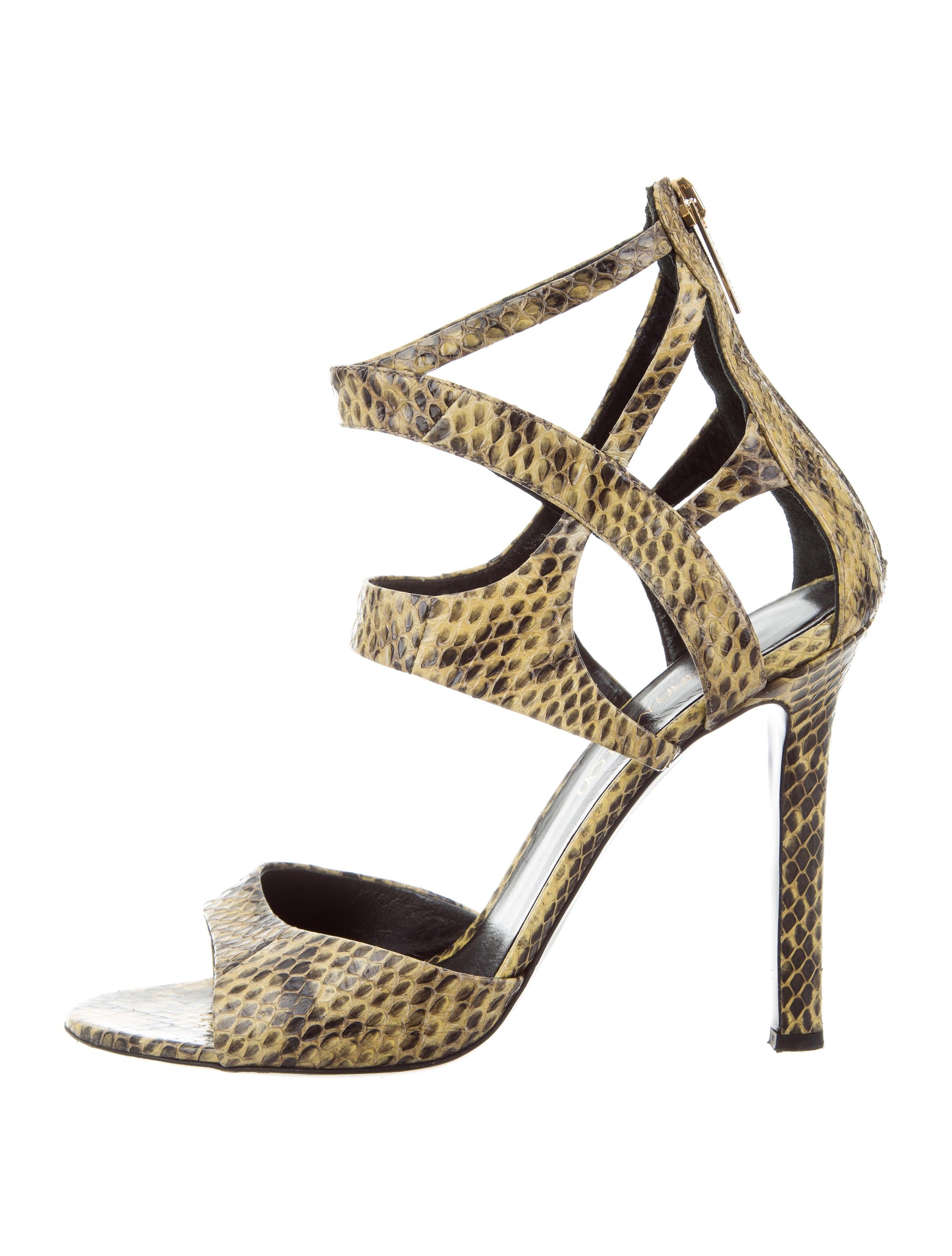 sale outlet Tamara Mellon Snakeskin Cutout Sandals footaction sale online DrBeaOMpk