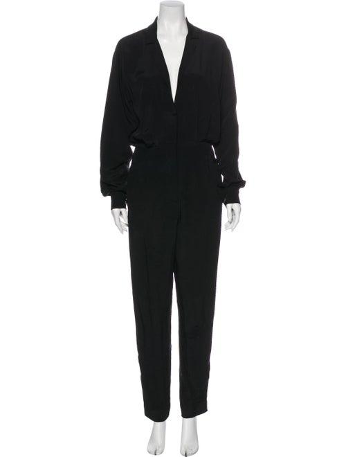 Tamara Mellon Silk Plunge Neckline Jumpsuit Black