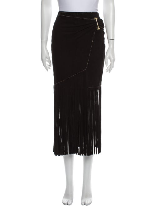 Tamara Mellon Suede Midi Length Skirt Black