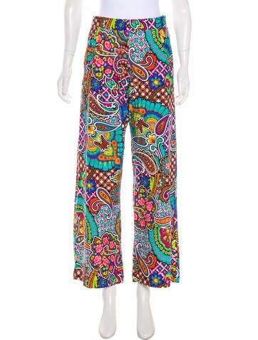 Printed High-Rise Pants