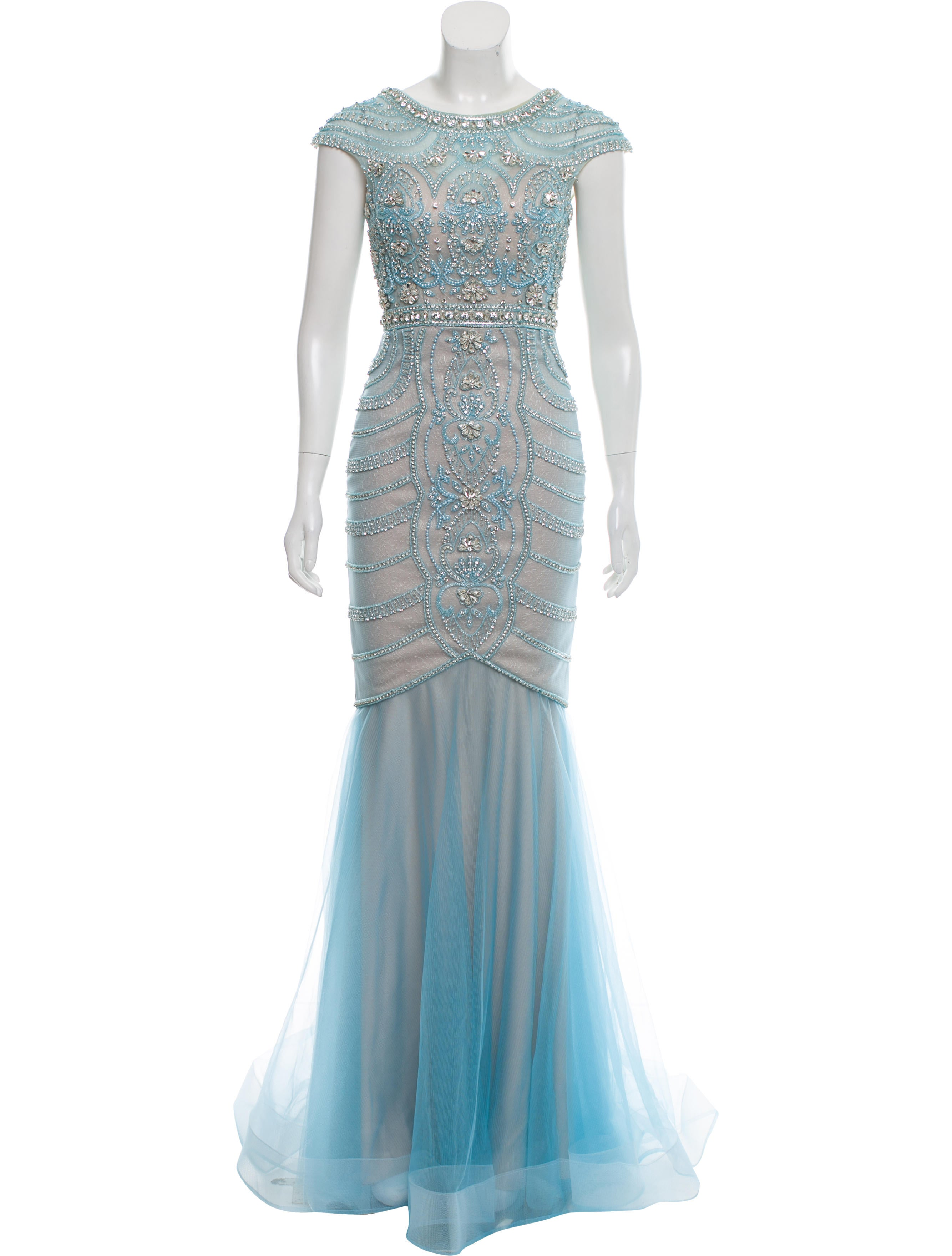 Terani Couture Embellished Cap Sleeve Evening Gown - Clothing ...