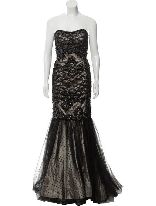Terani Couture Embellished Strapless Gown Black