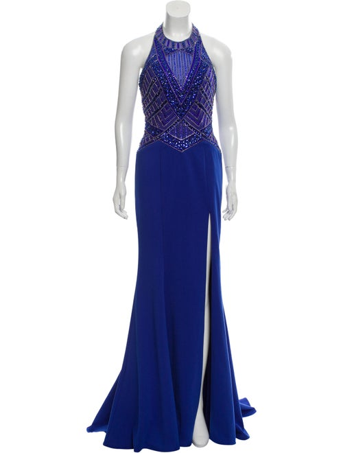Terani Couture Embellished Halter Gown Blue