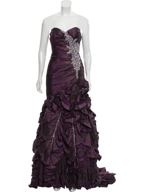 Terani Couture Embellished Evening Gown Purple