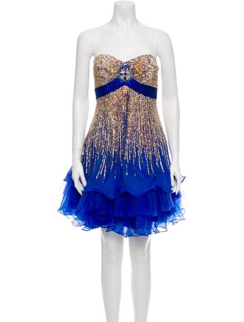 Terani Couture Silk Mini Dress Blue
