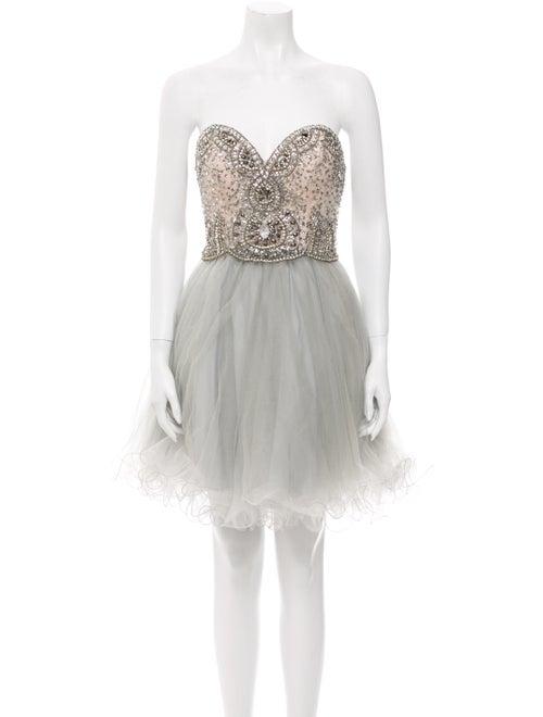 Terani Couture Strapless Mini Dress Green