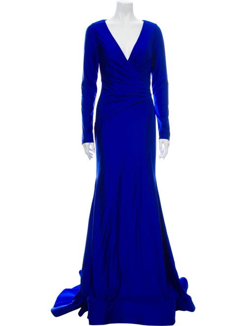Terani Couture V-Neck Long Dress Blue