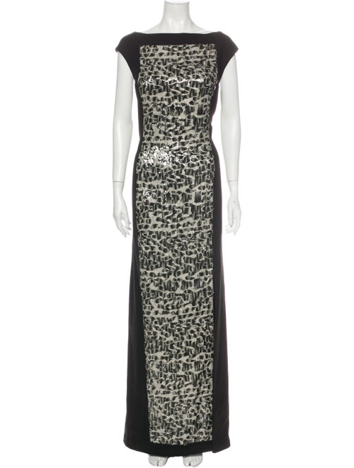 Terani Couture Printed Long Dress Black