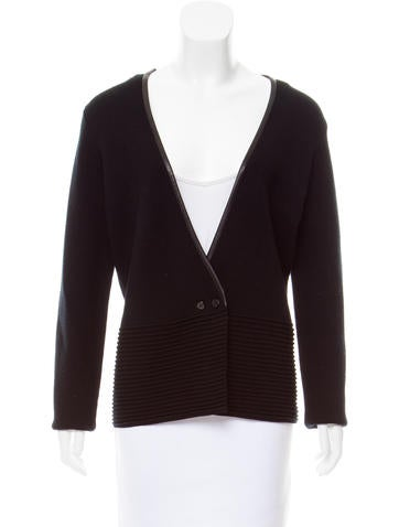 TSE Leather Trimmed Knit Cardigan None