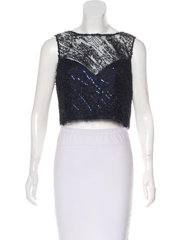 Theia Embellished Crop Top w/ Tags None