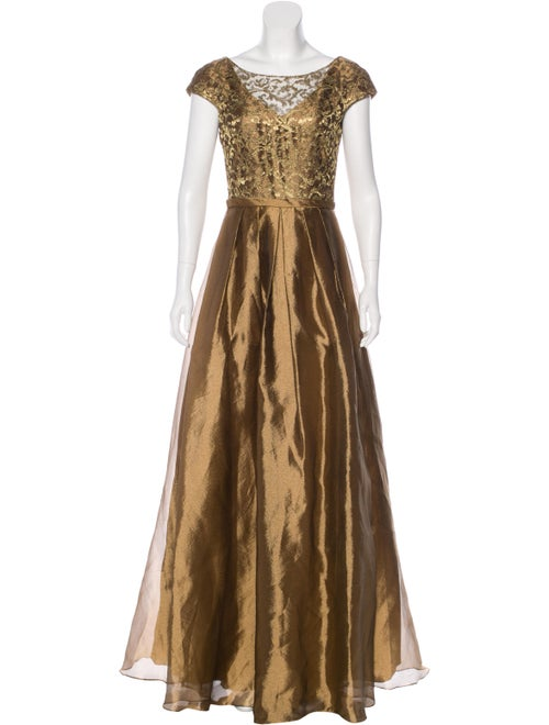 Theia Cap-Sleeve Evening Gown Gold