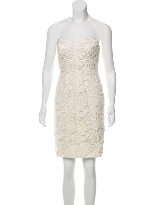 Theia Lace Strapless Dress