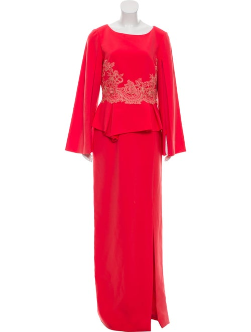 Theia Long Sleeve Evening Dress Orange